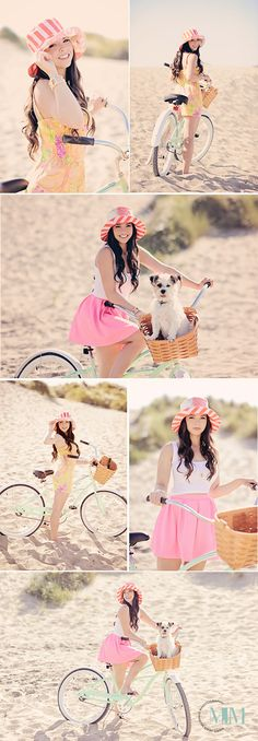 Bicycle senior picture ideas for girls with a vintage look. Vintage bicycle senior pictures. #seniorpictureideasforgirls #bicycleseniorpictures #vintagebicyclepictures