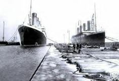 (Left) Photo of Titanic and her other sister ship Olympic seen together in Belfast. (Right) Titanic being pushed away from the SS New York after a near collision. Rms Titanic, Titanic History, Belfast Titanic, Titanic Ship, Modern History, British History, American History, Liverpool, Powerful Pictures