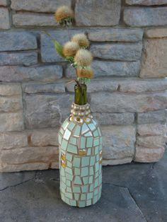 Mosaic Wine Bottle Sage with Gold Trim Broken by MosaicsbyMadonna
