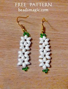 Free pattern for beaded earrings Jasmine U need: seed beads 11/0 super duo or twin beads This earrings will fit nice to this necklace – http://beadsmagic.com/free-pattern-for-necklace-jasmine/