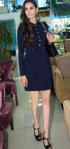 Navy Blue Plain Pockets Single Breasted Turndown Collar Fashion Midi Dress - Midi Dresses - Dresses
