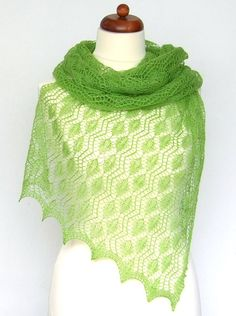 luxury knit lace shawl green merino soft and by KnitsDeLuxe