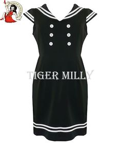ROBE DROITE STYLE MARIN ANNEES 50 HELL BUNNY NOIRE BLANCHE