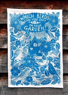 Sarah Papworth. Eco friendly printed Linen Tea towel, wall hanging in turquoise blue.