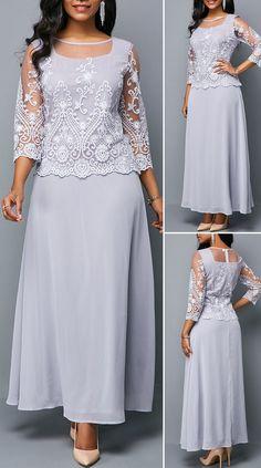 Zipper Back Three Quarter Sleeve Chiffon Dress Modest Dresses, Pretty Dresses, Sexy Dresses, Vintage Dresses, Beautiful Dresses, Casual Dresses, Fashion Dresses, Outfits Dress, Party Dress Sale