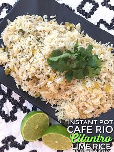 Instant pot cafe rio cilantro lime rice recipe. This fluffy lime cilantro rice is so easy to make in the Instant Pot and the perfect side dish!