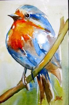 Watercolor Paintings of Birds | the blue bird original watercolor painting by meltem kilic painting by ...