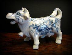 Staffordshire England Blue and White Transferware Cow Creamer. $48.00, via Etsy.