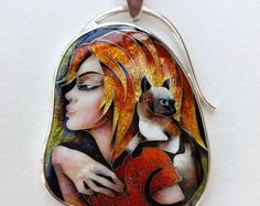 Girl and Siamese cat. Pendant. Cloisonne enamel. Jewelry, sterling silver