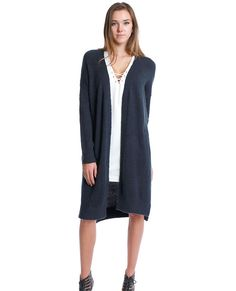 +Stretchy deep navy midi sweater cardigan with open front