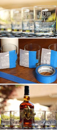 DIY Kentucky Bourbon Etched Glass Set | Click Pic for 29 DIY Christmas Gift Ideas for Men | Last Minute DIY Christmas Gifts for Friends