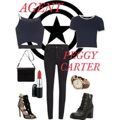 Agent Carter/Peggy Carter by el0723 on Polyvore featuring polyvore, fashion, style, Topshop, Cheap Monday, SJP, Steve Madden, Orla Kiely and MAC Cosmetics