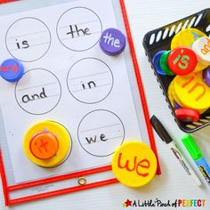 I have a big collection of lids because there are so many things that can be done with them just like this Learn and Stack Sight Word Activity. If your child isn't ready for sight words you can use this same activity to learn letters or numbers too. This activity is simple to put together (just the …