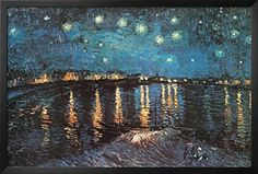 Professionally Framed Vincent Van Gogh Starry Night Over the Rhone Art Poster Print  24x36 with RichAndFramous Black Wood Frame -- For more information, visit image link.Note:It is affiliate link to Amazon.