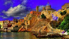 Preview wallpaper greece, city, sky, buildings 3840x2160