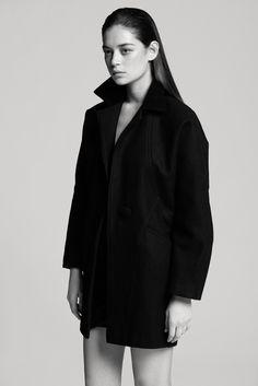 American Apparel coat + T by Alexander Wang twist skirt