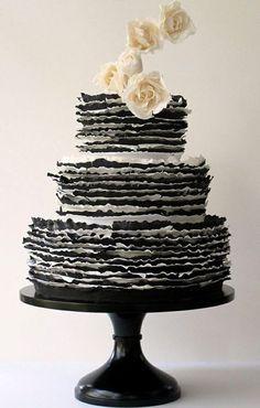 black & white ruffly wedding cake