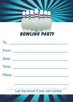 Stylish Ten Pin Bowling Birthday Party Invitation Birthday