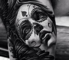 KhanTattoo Sugar Skull Girl, Sugar Skulls, Catrina Tattoo, Witch Tattoo, Sugar Skull Tattoos, World Tattoo, Tattoos Gallery, Skin Art, Body Art Tattoos