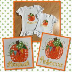 Big sis and little sis pumpkin shirts!