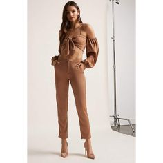 Forever21 Satin Open-Shoulder Crop Top & Pant Set (76 AUD) ❤ liked on Polyvore featuring camel, cropped camisole, cropped cami, satin camisole, strappy cami and satin cami