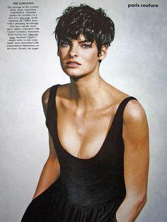 short hair, Linda Evangelista, 1989