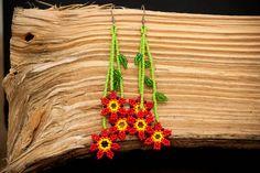 Mexicana Huichol cuentas pendientes Florecitas por Peiote en Etsy