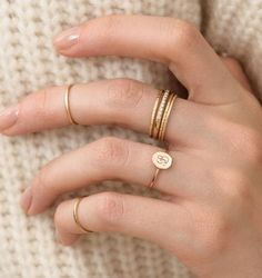 flat seed signet ring size subtle and sweet gold stack rings Dainty Jewelry, Cute Jewelry, Bridal Jewelry, Gold Jewelry, Jewelry Rings, Jewelery, Jewelry Accessories, Fashion Accessories, Jewelry Design