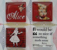 Alice in Wonderland set of 4 fridge magnets by kidmarket on Etsy, $6.75