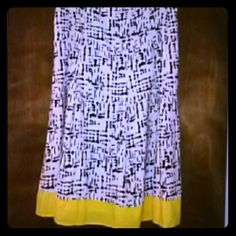 Black,White and Yellow Skirt Knee Length molly and Max  Skirts