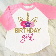 3ea88a908 Unicorn Birthday Girl Shirt, Gold Glitter Unicorn Shirt, Unicorn Theme  Birthday Party