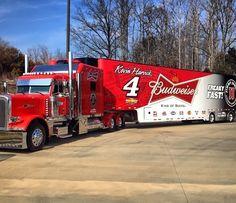 Peterbilt, Budweiser, NASCAR, Kevin Harvick, NASCAR, Transporter, Hauler