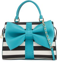 Betsey Johnson Curtsy Striped Bow Satchel Bag, Teal
