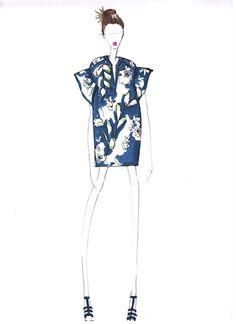 Fashion Sketch - tropical island print tunic dress; fashion illustration // WHIT