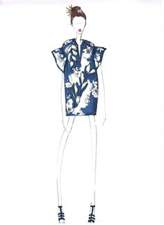 Fashion Sketch - tropical island print tunic dress; fashion illustration // WHIT
