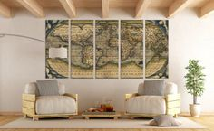LARGE Wall Art World Map Canvas Print / Vintage World Map