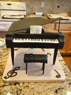 Grand Piano birthday cake Cake by Artistic Cake DeZine