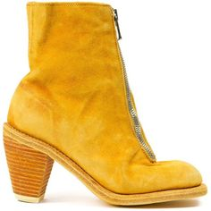 Guidi Front Zip Boots ($1,455) ❤ liked on Polyvore featuring shoes, boots, genuine leather boots, yellow boots, leather boots, leather footwear and leather shoes