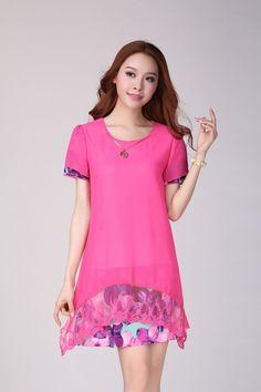 5b9935efd079 Summer Casual Chiffon Plus Size Dress