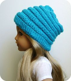 Sophie ~ Slouchy hat knitting pattern for 18 inch American Girl dolls   #doll clothes # 18 inch doll #AG   #American Girl #Gotz doll #Australian Girl #PDF knitting pattern #patterns to knit #hat #slouchy #blue #crafts #Ravelry #Etsy