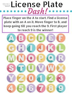 License Plate Dash Travel printable game. This game looks great for my younger kids who aren't big readers yet! #DoubletheBatch
