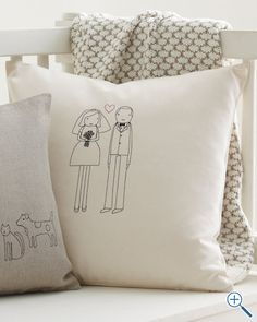 garnet hill couple pillow cover - happy love make believe...