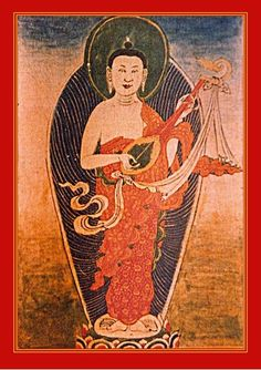 Indra holds a lute for music to accompany his teaching on the principles of life to the gods.