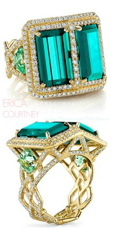 ERICA COURTNEY | Double Trouble Ring | 18K Yellow gold ring featuring 11.81 ctw. of Indicolite Tourmalines 2.60 ctw. of  Mint Tourmalines with 1.73 ctw. of Diamonds | La Beℓℓe ℳystère