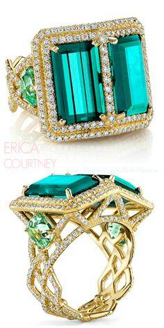 Erica Courtney - 18K Yellow gold ring, tourmalines, mint tourmalines and diamonds