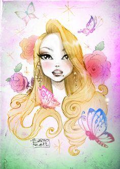 Dolly floral portrait of Mariah Carey by Darko Dordevic