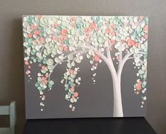 Mint Green and Peach Coral Art Textured Tree by MurrayDesignShop #ArtAndCraftCreative