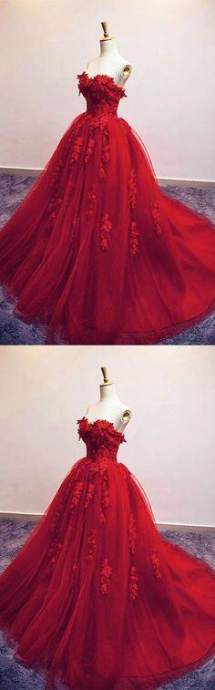 Sweetheart Red Tulle Long Evening/Wedding Dress #prom#eveningdress#promdress #wedding#weddingdress#redpartydress#weddingdress2018