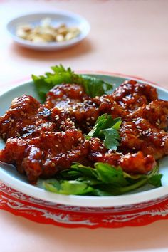 Peking Pork Chops - about 510 calories per serving (check how much oil is absorbed)