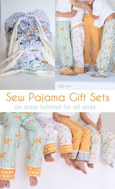 Sew pajama gift sets - complete tutorial for drawstring bags and pajama pants of any size. So cute!   Melly Sews